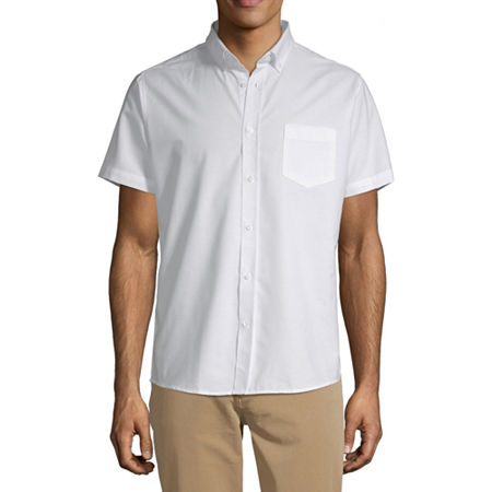 IZOD Young Mens Short Sleeve Button-Front Shirt, X-large , White
