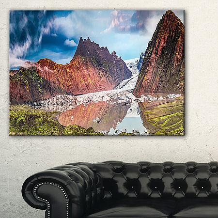 Designart Glacier And Lake At Sunrise Panorama Canvas Art, One Size , Blue
