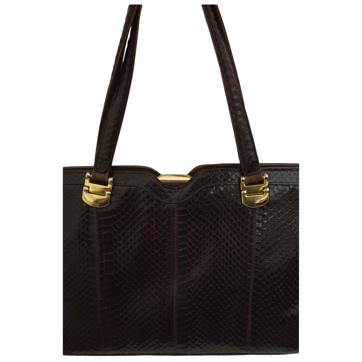 Non Signé / Unsigned \N Brown Python handbag for Women \N