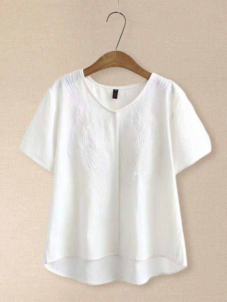 Irregular Embroidery Short Sleeve T-shirt for Women