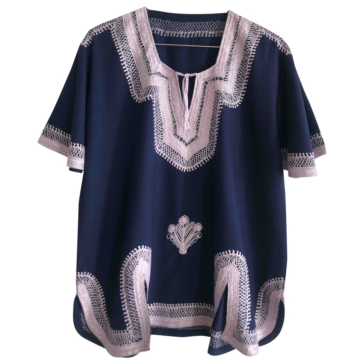 Non Signé / Unsigned \N Navy Cotton  top for Women 38 FR
