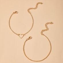 2pcs Heart Decor Bracelet