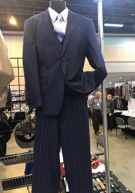 Mens Navy Blue Vittorio St Angelo 2 Button Pinstripe Suit