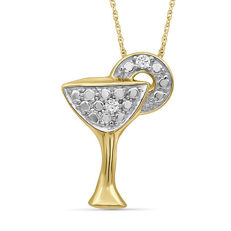 Womens Diamond Accent Genuine White Diamond 14K Gold Over Silver Pendant Necklace, One Size , No Color Family