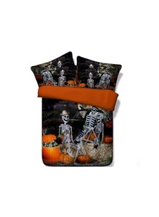 3D Halloween Skeletons Party Printed 5-Piece Comforter Sets