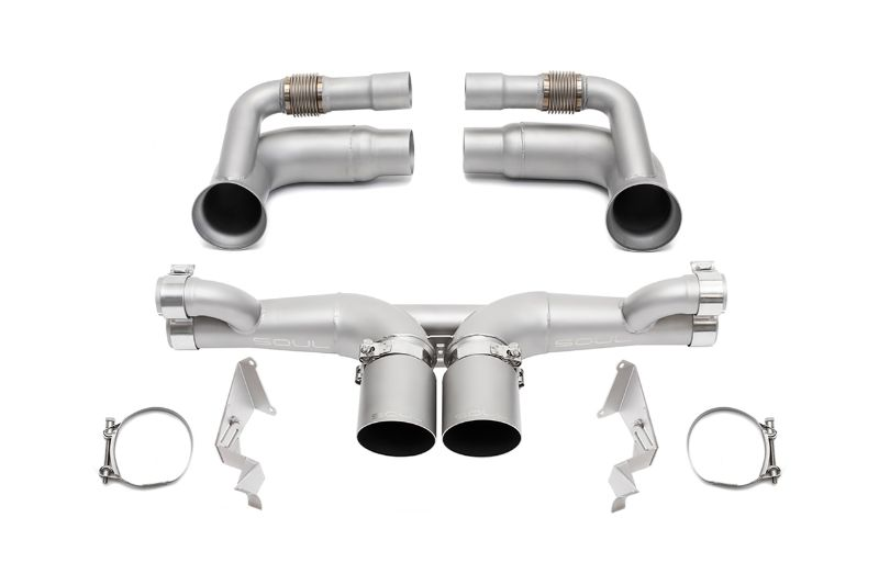 Soul Performance Competition Exhaust Valved 4 Inch Slash Single Wall Satin Tips Porsche 991.1 GT3 13-16