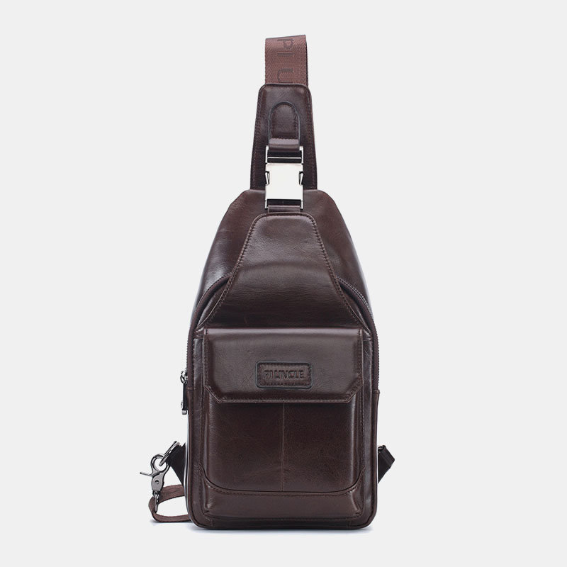 Men Genuine Leather Business Sling Crossbody Bag