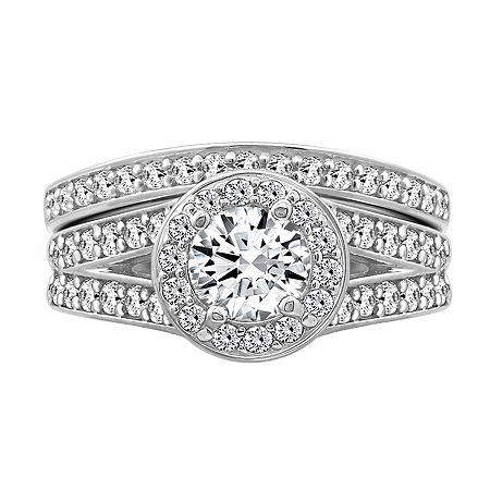 Womens 2 1/5 CT. T.W. Cubic Zirconia Sterling Silver Round Bridal Set, 7 , No Color Family