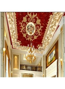 3D Red Rug Style PVC Waterproof Sturdy Eco-friendly Self-Adhesive Ceiling Murals