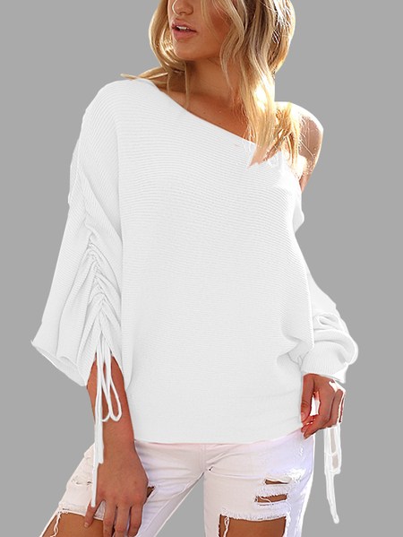 Yoins White Lace-up Design One Shoulder Long Sleeves Sweaters