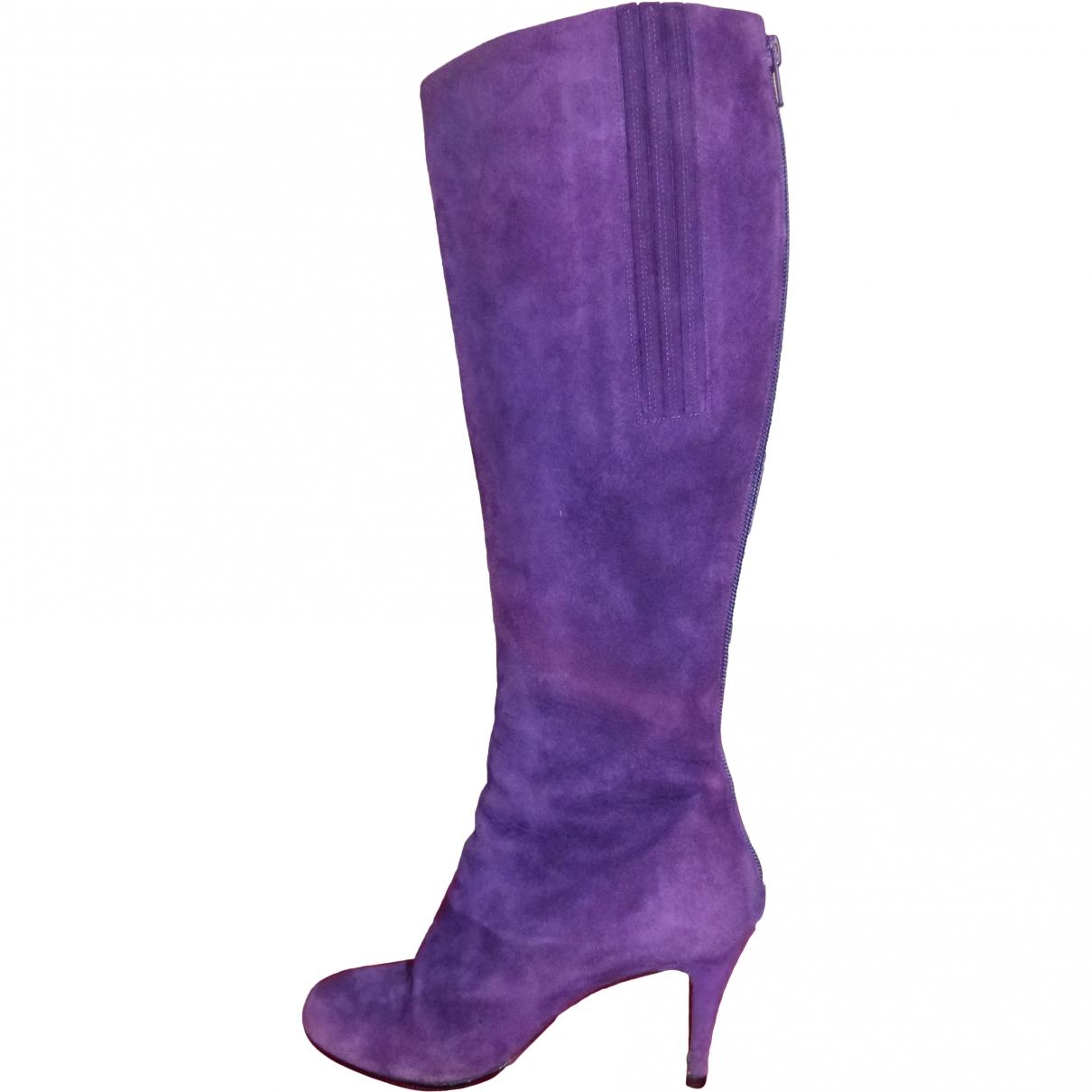 Christian Louboutin \N Purple Suede Boots for Women 38 EU