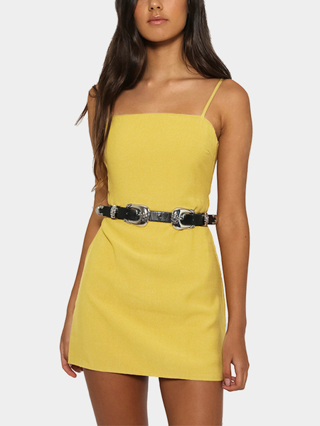 Yoins Yellow Self-tie Design Backless Mini Dress Without Belt
