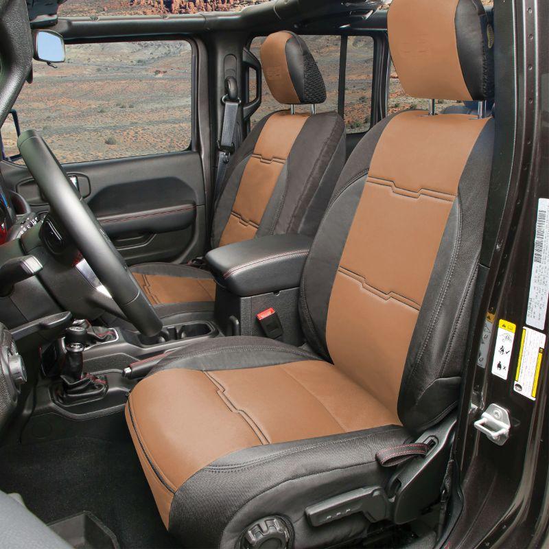 Smittybilt Black/Tan Gen2 Neoprene Seat Cover Set Jeep Wrangler JL 4-Door 18-20