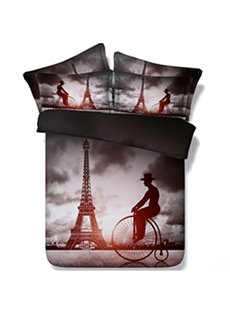 Creative Big Wheel Bicycles and Eiffel Tower Print 5-Piece Comforter Sets
