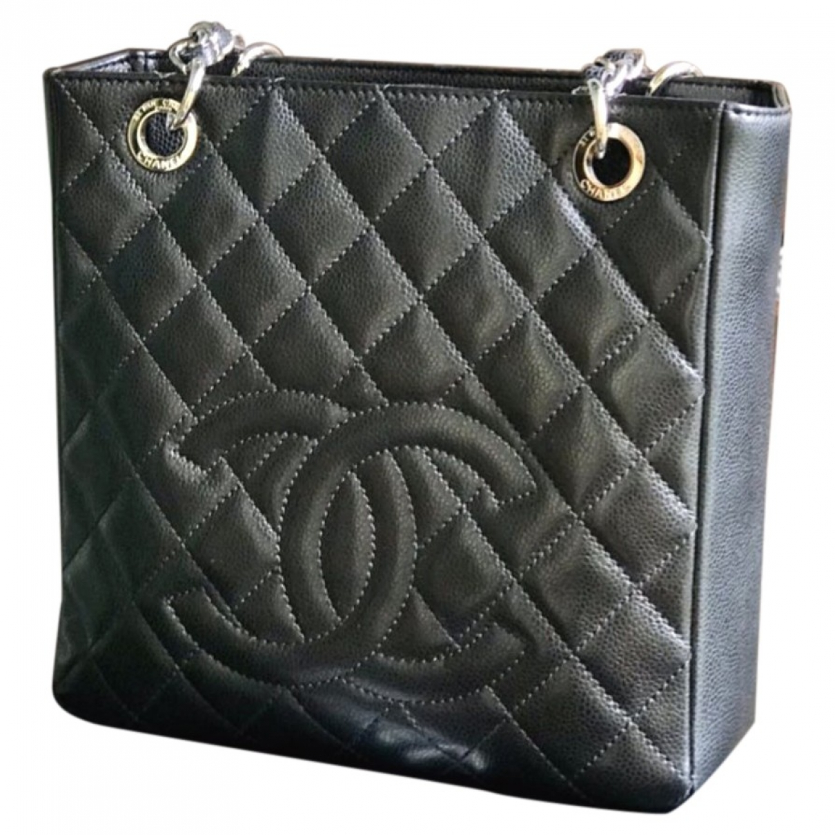 Chanel Petite Shopping Tote Black Leather handbag for Women \N