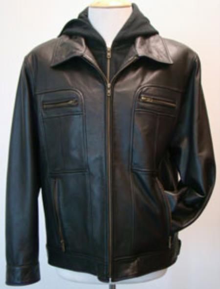 Mens Black Removable Hood Lamb Leather Zip Jacket