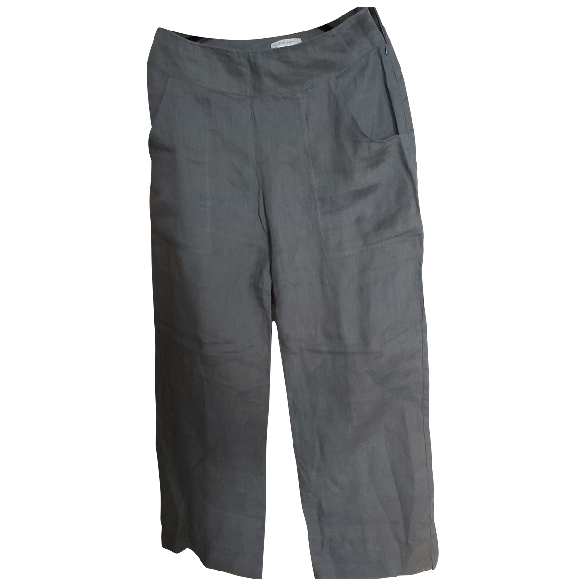 Non Signé / Unsigned \N Grey Linen Trousers for Women 1 0-5