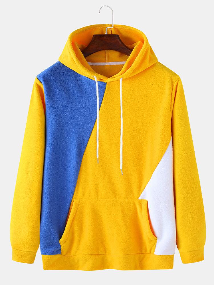 Mens Fleece Color Block Patchwork Casual Kangaroo Pocket Drawstring Hoodies
