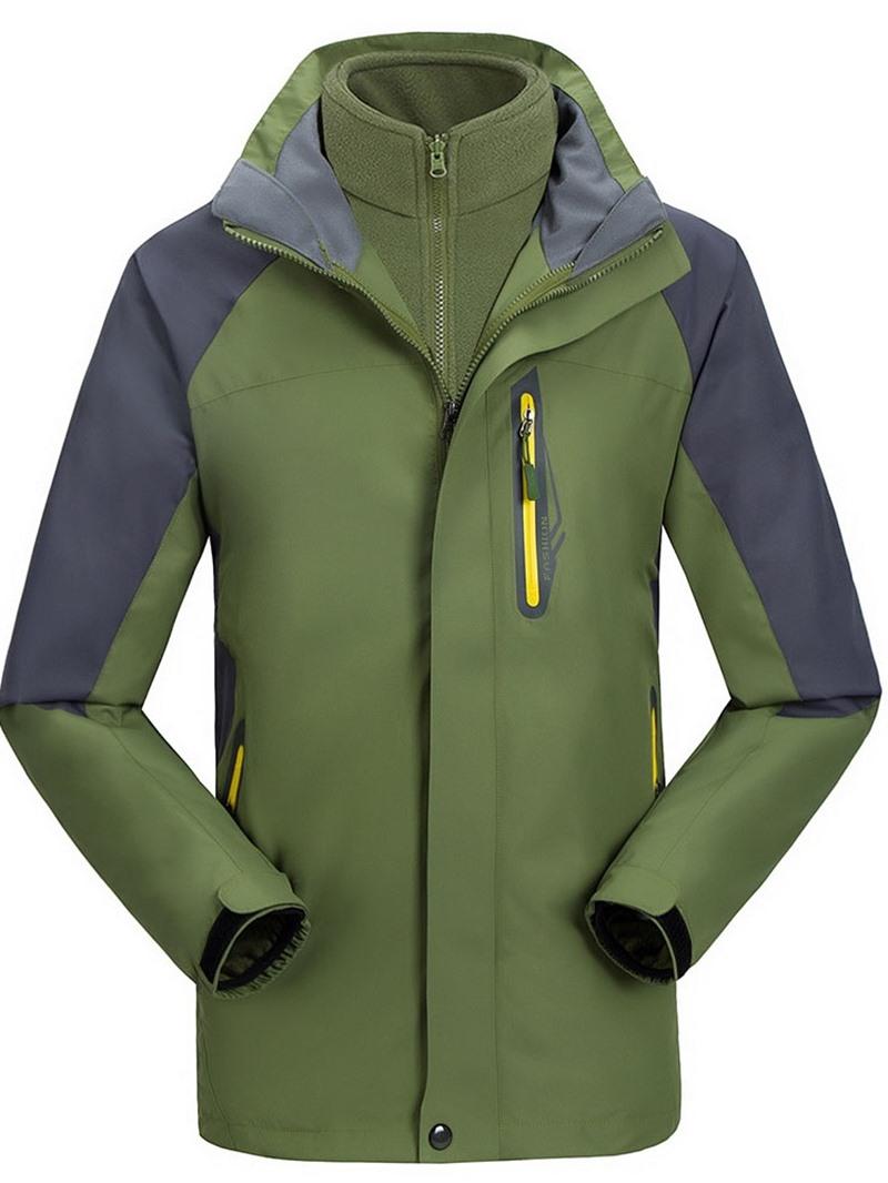 Ericdress Zipper Color Block Standard Casual Men's Down Jacket