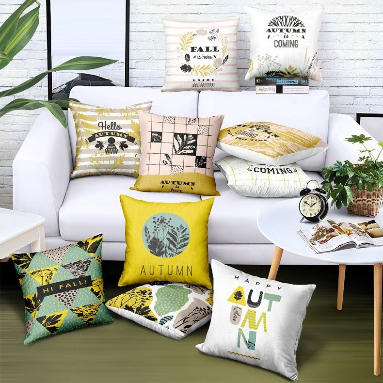 American Style Maple leaf Pattern Twill Fabric Linen Cotton Cushion Cover Home Sofa Car Office