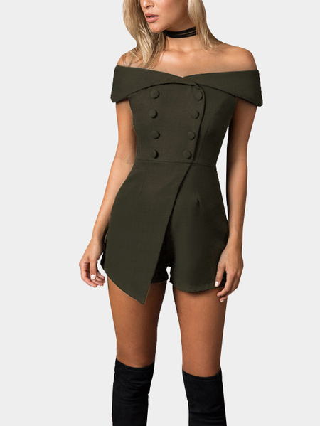 Yoins Army Green Off Shoulder Playsuit with Button Design
