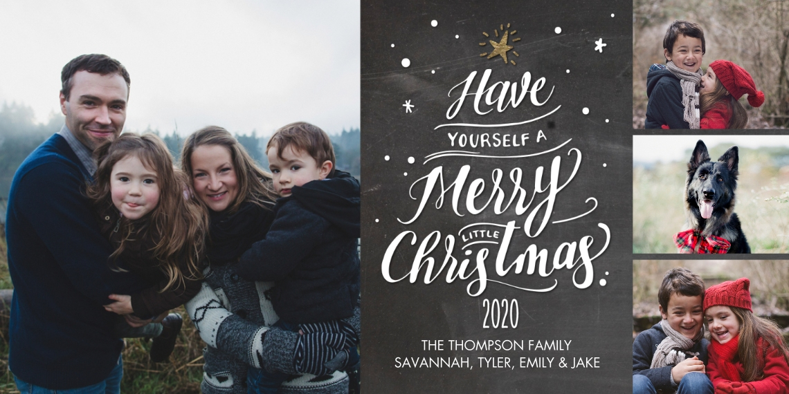 Christmas Photo Cards Flat Matte Photo Paper Cards with Envelopes, 4x8, Card & Stationery -2020 Script Tree Collage by Tumbalina