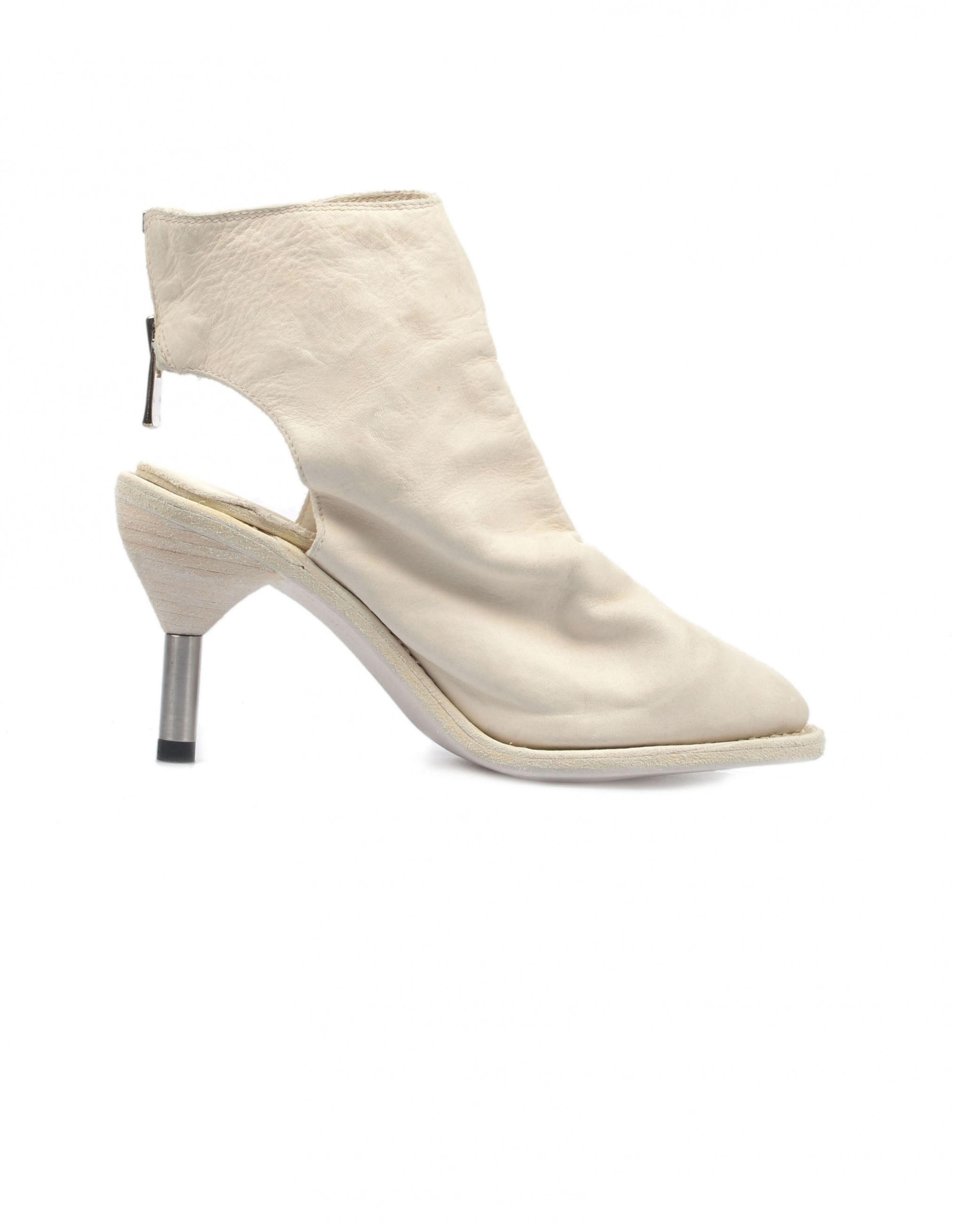 Guidi White Leather Ankle Boots