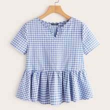 Notched Neck Gingham Peplum Top