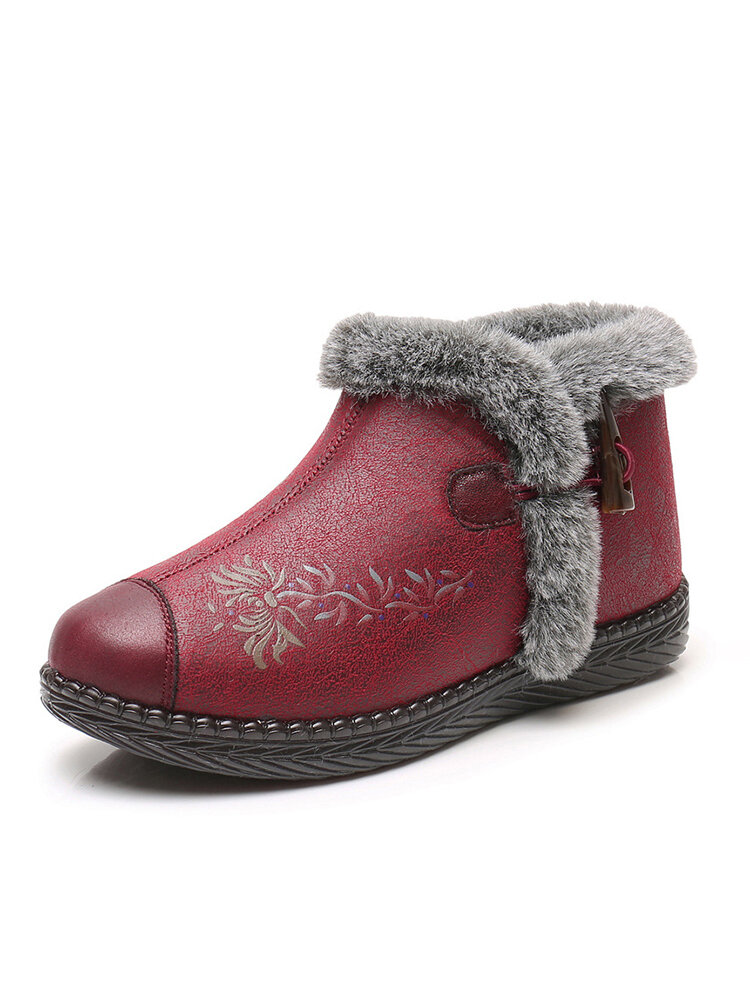 Women Snow Boots Casual Flowers Pattern Fluff Warm Ankle Cotton Boots