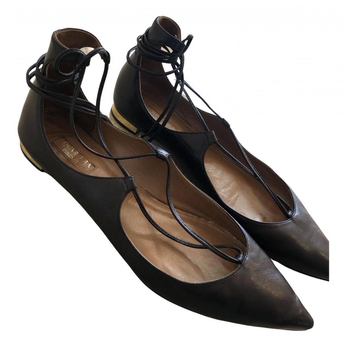 Aquazzura Christy Black Leather Ballet flats for Women 39 IT