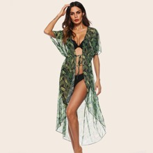 Sheer Tropical Belted High Low Kimono