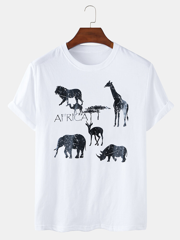 Mens Animal Printed Cotton Casual Short Sleeve T-shirts