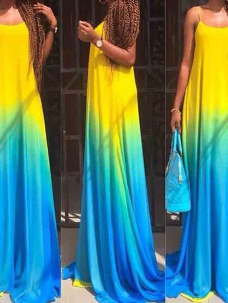 Ericdress Sleeveless Floor-Length Gradient A-Line Spaghetti Strap Dress