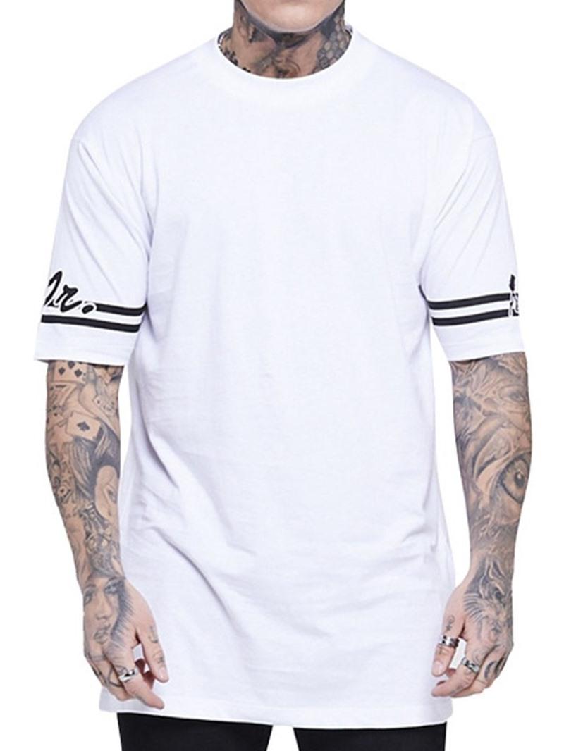 Ericdress Round Neck Color Block Print Short Sleeve Mens Loose T-shirt