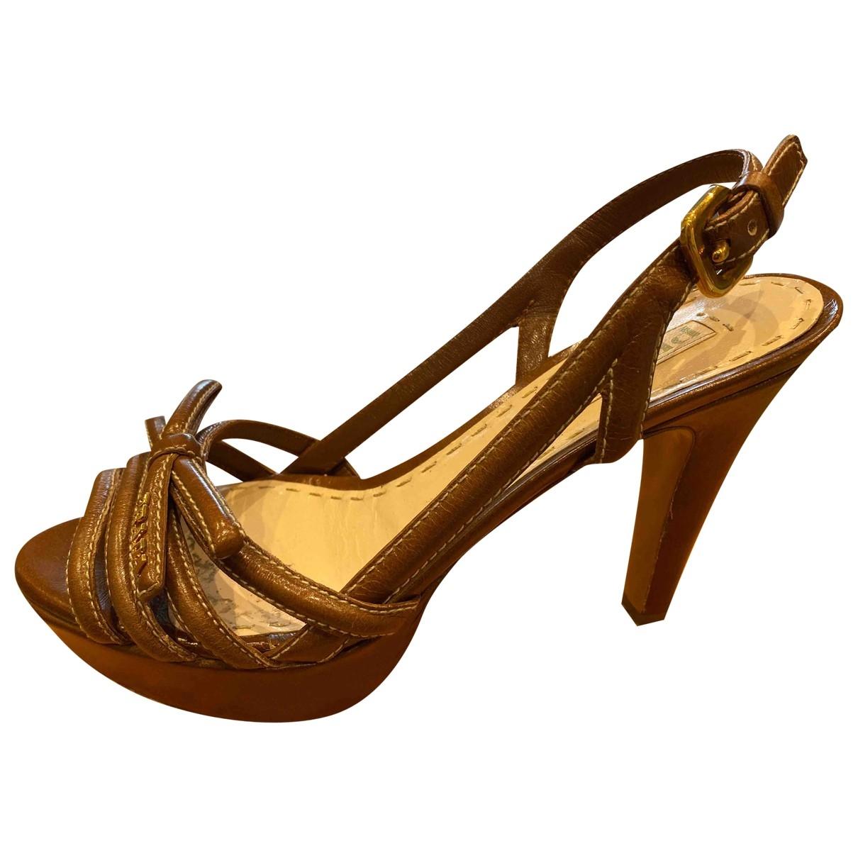 Prada \N Camel Leather Sandals for Women 36.5 EU