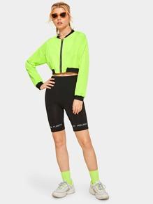Neon Green Zip Through Crop Bomber Jacket