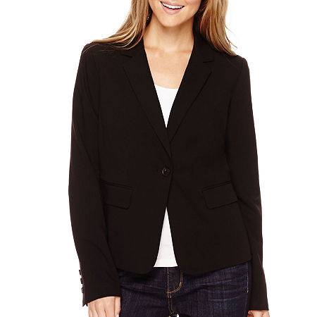 Liz Claiborne Long-Sleeve Suit Blazer - Petite, 6 Petite , Black