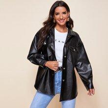 Flap Pocket Front Curved Hem PU Leather Coat