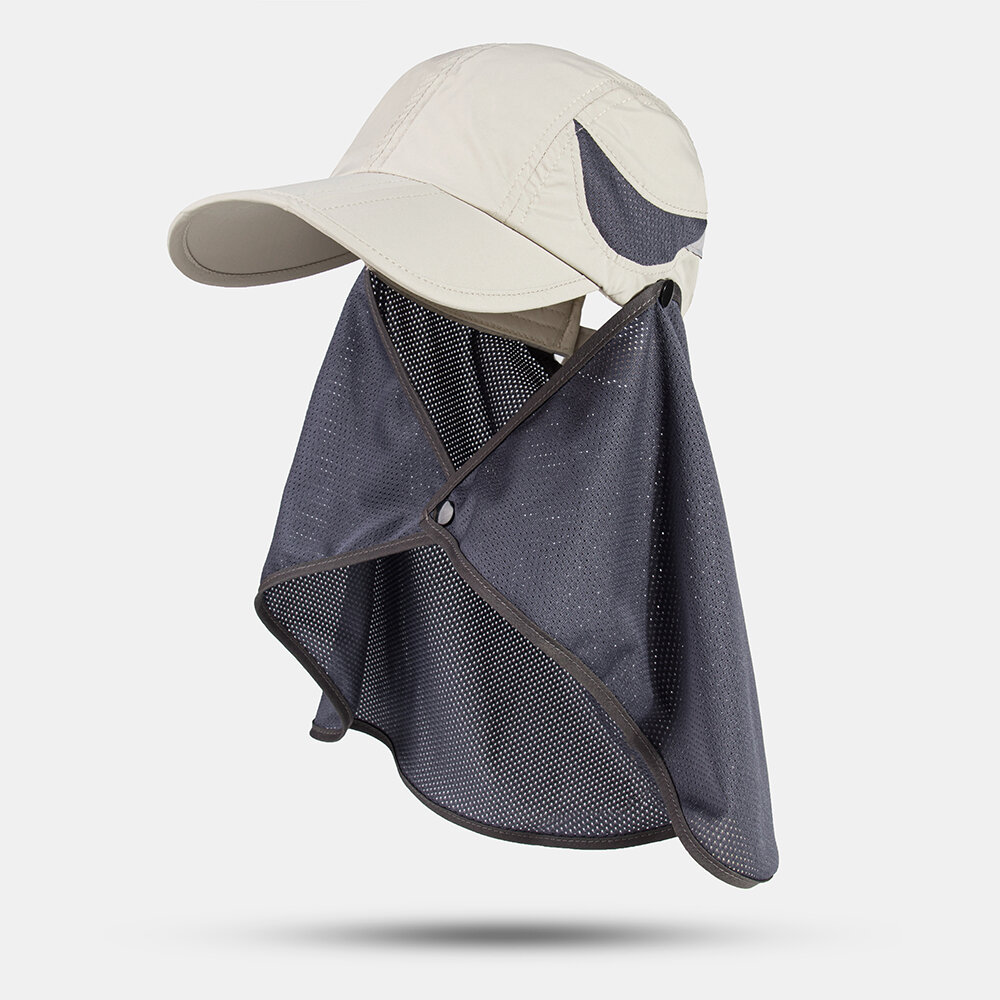 Men Quick-dry Outdoor Sunscreen Cover Neck UV Protection Casual Baseball Hat With Detachable Mesh Cape