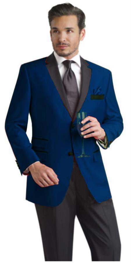 Navy Blue Two Button Party Suit and Tuxedo and Blazer w/ Black Lapel