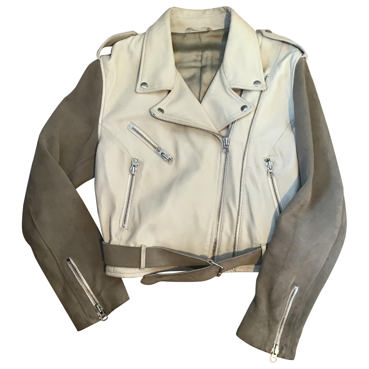 Acne Studios \N Ecru Leather Leather jacket for Women 42 FR
