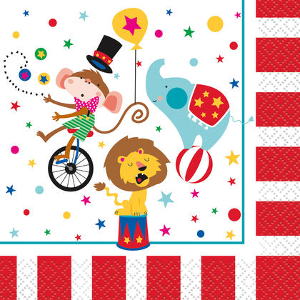 Circus Carnival Beverage Napkins, 16ct For Birthday Party