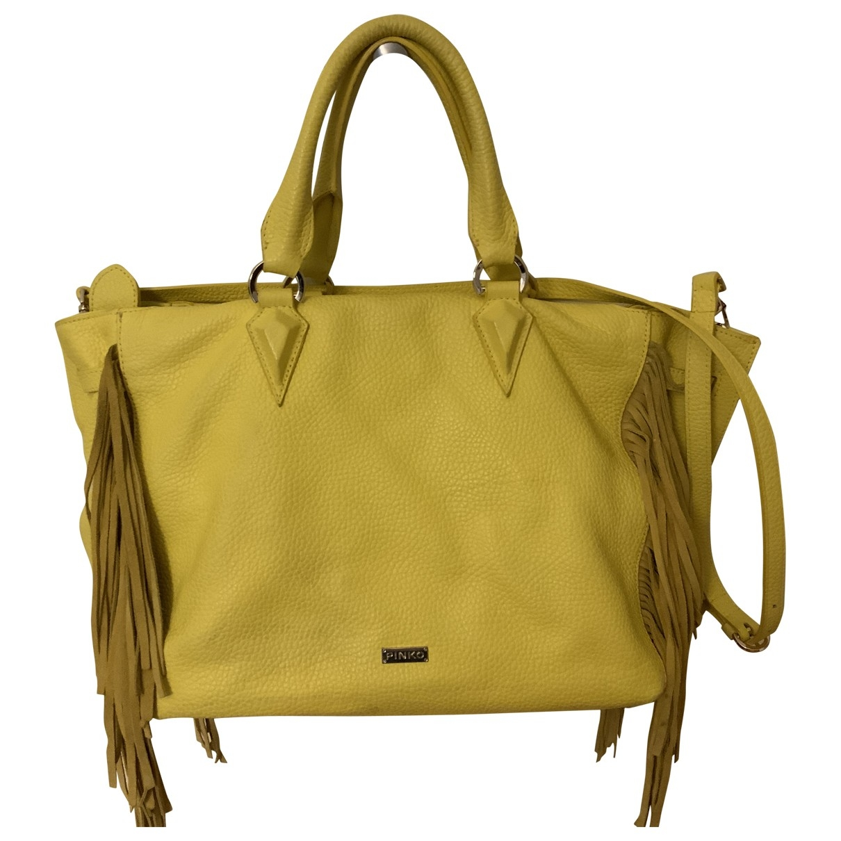 Pinko \N Yellow Leather handbag for Women \N