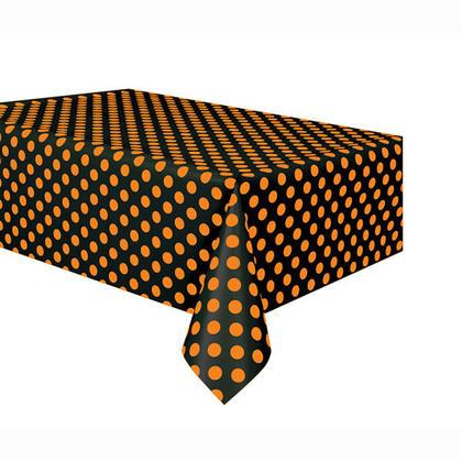 Orange & Black Polka Dot Halloween Plastic Tablecover, 54