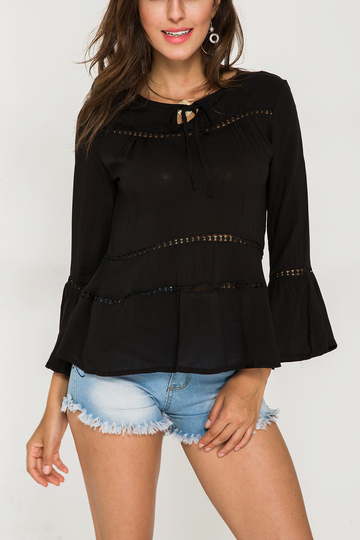 Yoins Black Hollow Out  Tie-up Round Neck Bell Sleeves Blouse