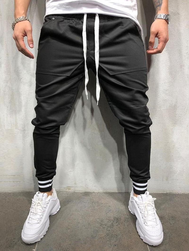 Ericdress Plain Pencil Lace-Up Four Seasons Men's Casual Pants