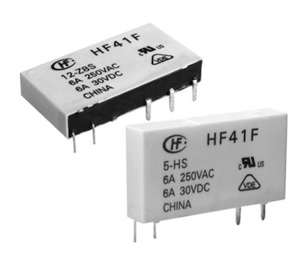 Hongfa Europe GMBH , 24V dc Coil Non-Latching Relay SPDT, 6A Switching Current PCB Mount Single Pole (2)