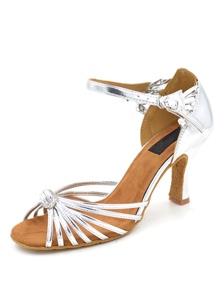 Milanoo Silver Dance Shoes Stiletto Open Toe Buckled Ballroom Shoes For Women