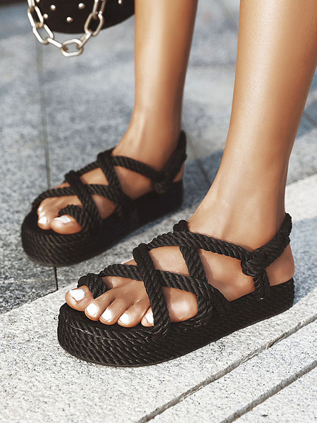 Milanoo Women Flat Sandal Espadrilles Plus Size Black Open Toe Criss Cross Strap Shoes