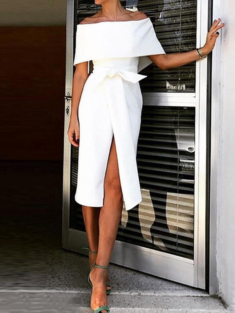 Ericdress Short Sleeve Lace-Up Off Shoulder Elegant Regular Dress